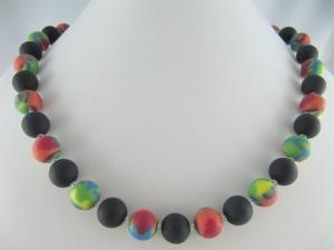 Kette Polaris Bunt Schwarz große Perlen Polariskette (573) - Handarbeit kaufen