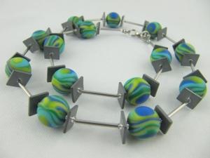Kette Blau / Grün Polaris Perlen, Hämatit (528) - Handarbeit kaufen