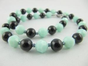 Kette Türkis / Schwarz Perlen (422) - Handarbeit kaufen