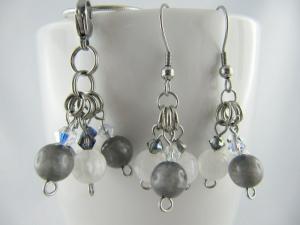 Set Anhänger und Ohrringe Polaris Perlen Weiß Grau (480) - Handarbeit kaufen