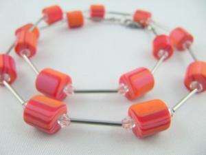Kette Rot / Rose Polaris Perlen Polariskette (551) - Handarbeit kaufen
