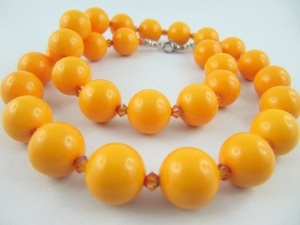 Auffällige Kette mit großen Perlen Orange (579) - Handarbeit kaufen