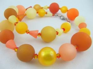 Kette Polariskette Gelb Orange große Perlen (580) - Handarbeit kaufen