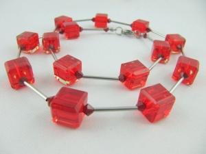 Kette Würfel Glas Rot Glaswürfel (571) - Handarbeit kaufen