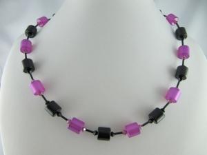 Kette Schwarz Pink Polaris Walzen (601) - Handarbeit kaufen