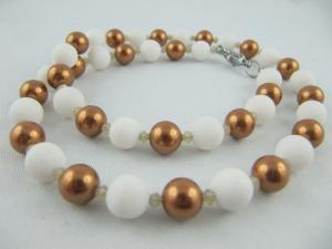 Kette Braun Kupfer Perlen Jade Weiß (611) - Handarbeit kaufen