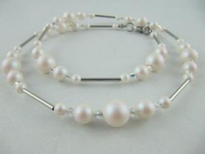Kette Perlen Weiß Glitzer Perlenkette (604) - Handarbeit kaufen