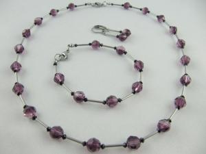 Schmuckset Lila Amethyst Glitzer Perlen (614) - Handarbeit kaufen