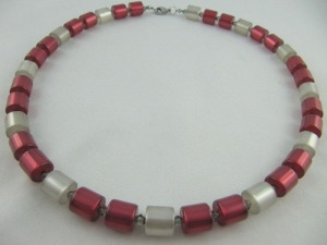 Kette Rot Grau Polaris Walzen Polariskette (602) - Handarbeit kaufen