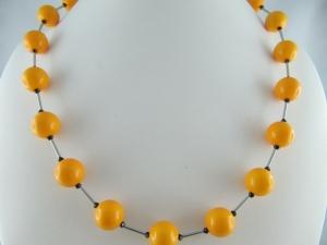 Kette mit großen Polaris Perlen Orange (583) - Handarbeit kaufen