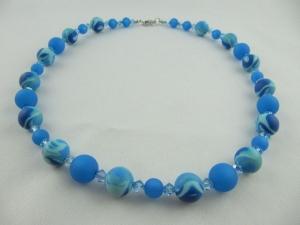 Kette Blau Hellblau Polaris Perlen Polariskette (619) - Handarbeit kaufen