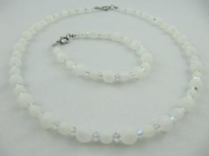 Kette und Armband Perlen Weiß Polaris Polariskette (613) - Handarbeit kaufen
