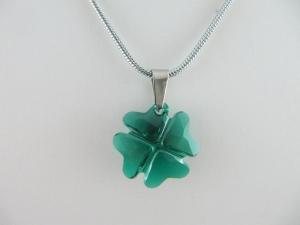 Kette mit Kleeblatt Anhänger Grün Emerald (644)  - Handarbeit kaufen