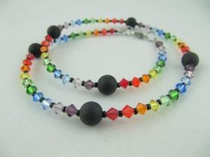 Kette Bunt Regenbogen Polaris Perlen (640) - Handarbeit kaufen