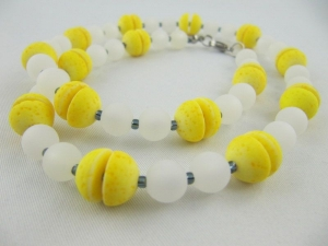Kette Perlen Polaris Gelb / Weiß Polariskette (584) - Handarbeit kaufen