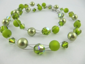 Collier Oliv Grün Polaris Perlen Polariskette (041) - Handarbeit kaufen