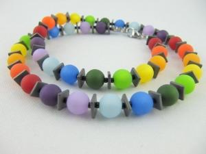 Kette Regenbogen Bunt Polaris Perlen Polariskette (649) - Handarbeit kaufen