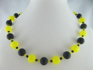 Kette große Perlen Polaris Schwarz Gelb Polariskette (648)