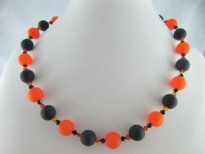 Kette große Perlen Polaris Schwarz Orange Polariskette (648)  - Handarbeit kaufen