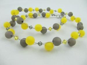 Collier Kette Perlen Grau / Gelb Polariskette (655) - Handarbeit kaufen