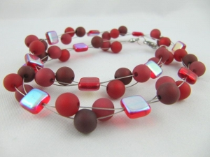 Kette / Collier Perlen Polaris Rot Polariskette (608) - Handarbeit kaufen
