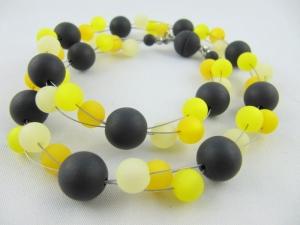 Kette / Collier Polaris Perlen Schwarz Gelb Polariskette (549) - Handarbeit kaufen