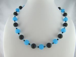 Kette große Perlen Polaris Schwarz Blau Polariskette (648)   - Handarbeit kaufen