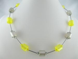 Kette Grau / Gelb Polariswalzen Polariskette (656) - Handarbeit kaufen