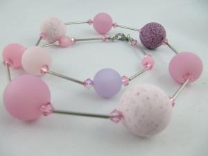 Kette Polariskette Große Perlen Rosa (576) - Handarbeit kaufen