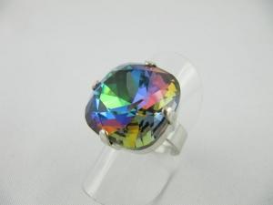 Großer Ring Crystal Sphinx  Blau / Grün (R14) - Handarbeit kaufen