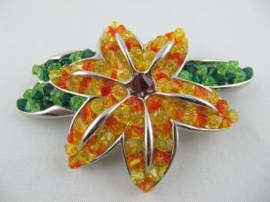 Brosche Blüte Blume Gelb / Orange - Handarbeit kaufen