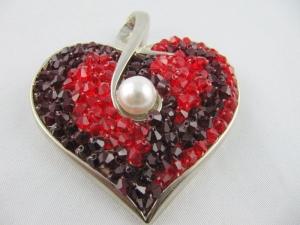 Brosche Herz Rot - Handarbeit kaufen