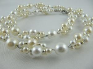 Kette / Collier Creme / Weiß Perlen Braut (520) - Handarbeit kaufen