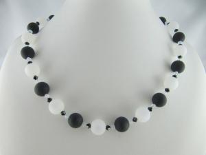Kette große Perlen Polaris Schwarz Weiß Polariskette (648)    - Handarbeit kaufen
