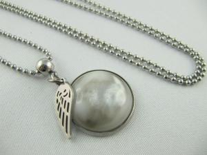 Lange Kette mit Polaris Cabochon Weiß / Silber (378)   - Handarbeit kaufen