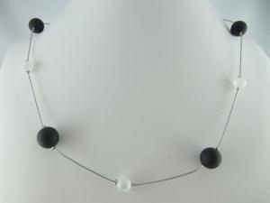 Kette Perlen Schwarz / Weiß Polariskette (595) - Handarbeit kaufen