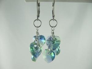 Ohrringe Herzen Blau / Grün (606) - Handarbeit kaufen