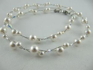 Collier und Ohrringe Perlen Weiß Braut Hochzeit (603) - Handarbeit kaufen