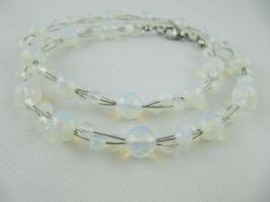 Kette / Collier Perlen Opal Quartz Weiß (627) - Handarbeit kaufen