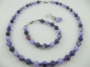 Set Kette Armband Ohrringe Polaris Perlen Lila (559) - Handarbeit kaufen