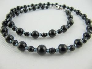 Kette Perlen Onyx Schwarz Perlenkette (538) - Handarbeit kaufen