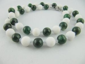 Kette Perlen Jade Weiß / Grün  (639) - Handarbeit kaufen