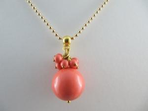 Lange Kette Perlen Gold Coral (237)  - Handarbeit kaufen