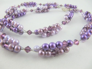 Set Collier und Armband Perlen Lila (194) - Handarbeit kaufen
