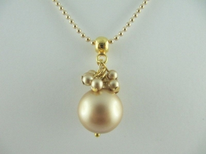 Lange Kette Perlen Vintage Gold (237)  - Handarbeit kaufen