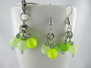 Set Anhänger und Ohrringe Polaris Perlen Grün (481) - Handarbeit kaufen