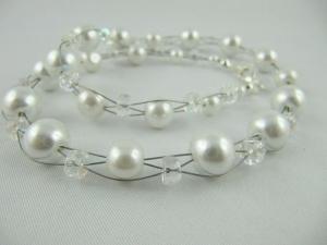 Collier weiß / kristall Perlen (374) - Handarbeit kaufen