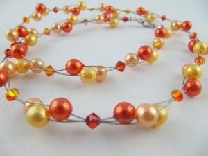 Kette / Collier Orange Perlen (017) - Handarbeit kaufen