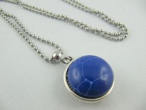 Lange Kette mit 2in1 Polaris Cabochon Blau Grau (389)  - Handarbeit kaufen