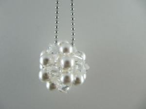 lange Kette mit großer Kugel Weiß Crystal (471) - Handarbeit kaufen